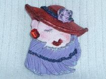 Red Hat Lady with purple feather boa pin