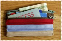 Zipper wallet - Red Blue and Brown