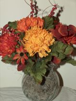 Thanksgiving Autumn Mums and Poppies Arrangement