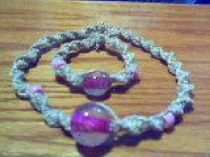 Pink Handmade Hemp Bracelet and Choker