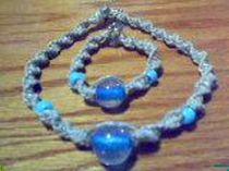 Blue Glass Beaded Matching Choker and Bracelet