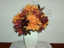 Autumn Poppies Mums and Maple Leaves Arrangement