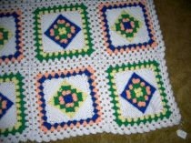 Large Granny Square Crocheted Baby Blanket