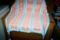 Peaches  Green Hand Crocheted Baby Blanket