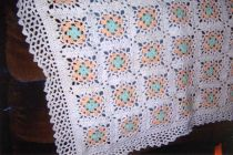 Lacy Granny Square Hand Crocheted Baby Blanket
