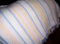 Popcorn and Stripes Crocheted Baby Blanket