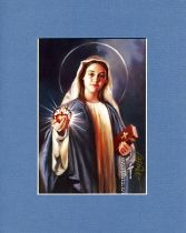 Blessed Virgin Mary - 5x7  BlueGray Matted Print