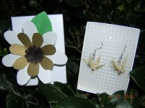 Tan with spreckles Origami Crane Earrings