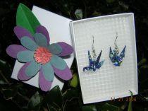 Blue Patterned Origami Crane Earrings
