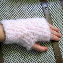 Soft Pink Fingerless Gloves - Adult Small