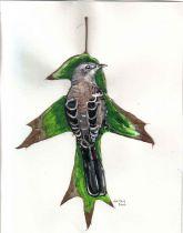 Mocking bird on a leaf