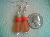 Salmon and Jade Earrings
