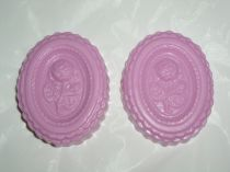 2 Oval Pink Decorator Bath Soap Scented with Light Rose