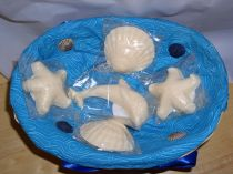 5 Tan Ocean Theme Decorator Guest Soaps Scented with Pearberry