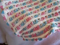 Hand crocheted baby blanket Broomstick Lace