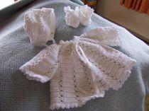 White hand crocheted baby set