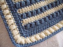 Blue and Off White Cluster Stripe Baby Blanket