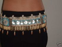 Brown Blue Bead Cowry Shell Belt