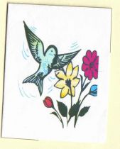set of 10 whimsical hummingbirdflower note cards