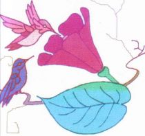 one set of 10 whimsical hummingbirds  flowers