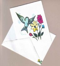 one set of 10 whimsical hummingbird cards