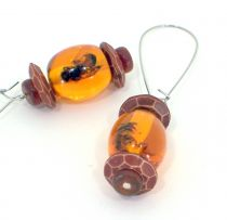 Bees Captured in Amber Earrings