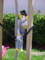 Scarecrow Puppet White wdark stripe shirt